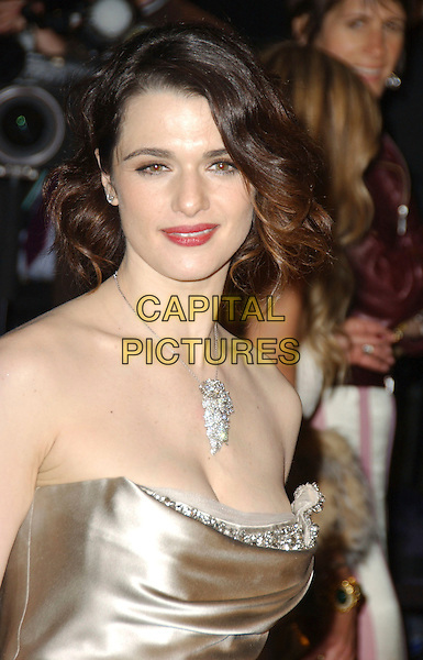 RACHEL WEISZ.The 2007 Vanity Fair Oscar Party Hosted by Graydon Carter held at Morton's, West Hollywood, California, USA, 25 February 2007..oscars half length red lipstick necklace strapless dress gold satin Vera Wang.CAP/ADM/GB.©Gary Boas/AdMedia/Capital Pictures.