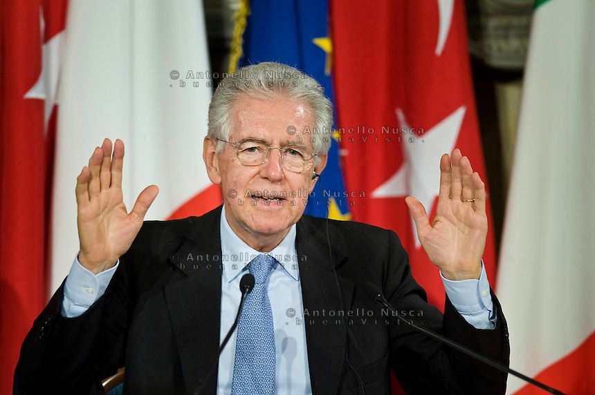 Rome, Italy, May 8, 2012. Italian prime Minister Mario Monti attends a press conference with Turkish Prime Minister Recep Tayyip Erdogan, following an Italy -Turkey summit at Villa Madama in Rome.
