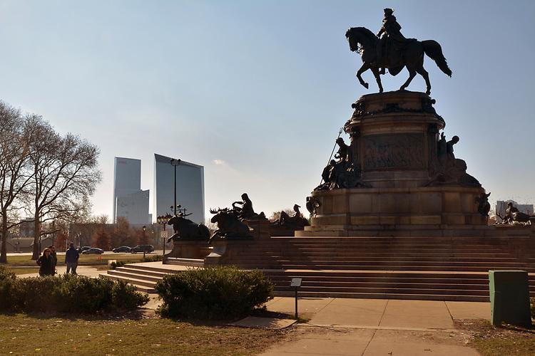 View of the Rudolf Siemering statuary at Eakin Oval plaza across the street from the Philadelphia Museum of Art. in Philadelphia, PA, on Monday, November 27, 2017. Photo by Jim Peppler. Copyright/Jim Peppler-2017.