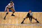 GRAND RAPIDS, MI - NOVEMBER 18: Taylor Yontz (20) of Wittenberg University reaches to bump the ball during the Division III Women's Volleyball Championship held at Van Noord Arena on November 18, 2017 in Grand Rapids, Michigan. Claremont-M-S defeated Wittenberg 3-0 to win the National Championship. (Photo by Doug Stroud/NCAA Photos via Getty Images)