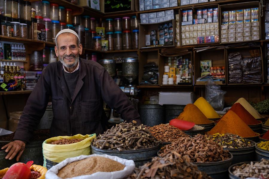 FEZ, MOROCCO - CIRCA APRIL 2017:  Portrait of Moroccan merchant at the Medina in Fez