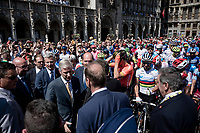 King Filip of Belgium meeting/greeting Tour-boss Christian Prudhomme, the riders & Eddy Merckx at the race start in Brussels<br /> <br /> Stage 1: Brussels to Brussels (BEL/192km) 106th Tour de France 2019 (2.UWT)<br /> <br /> ©kramon