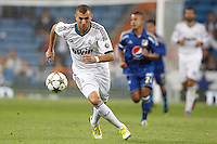 26.09.2012 SPAIN - Real Madrid and Millonarios played  for the 34th Santiago Bernabéu Trophy. The score at was 8-0 with three goals from Kaká, Morata (2), Callejon (2) and Benzema (1). The picture show Karim Benzema (French Forward of Real Madrid)
