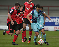 Luke O'Nien (R) of Wycombe Wanderers on the attack against Morecambe during the Sky Bet League 2 match between Morecambe and Wycombe Wanderers at the Globe Arena, Morecambe, England on 29 April 2017. Photo by Stephen Gaunt / PRiME Media Images.