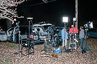 A television crew sets up before Republican presidential candidate and former Florida governor Jeb Bush speaks to a crowd in the barn of Dr. and Mrs. James Betti in Rye, New Hampshire, for former Massachusetts senator Scott Brown's No B.S. BBQ series.