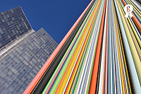 Skyscraper and multi coloured stripes (Licence this image exclusively with Getty: http://www.gettyimages.com/detail/95794840 )