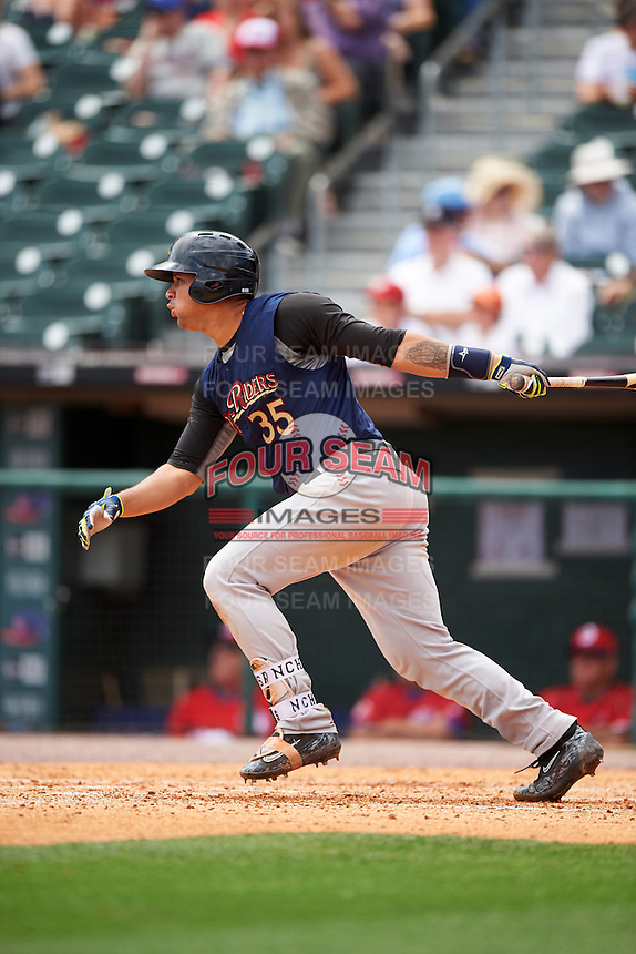 Scranton/Wilkes-Barre RailRiders catcher Gary Sanchez (35) at bat during a game against the Buffalo Bisons on July 2, 2016 at Coca-Cola Field in Buffalo, New York.  Scranton defeated Buffalo 5-1.  (Mike Janes/Four Seam Images)