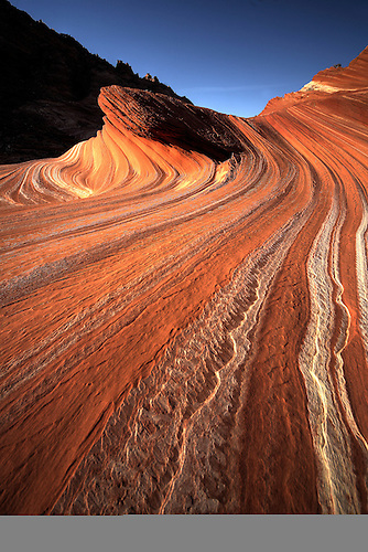 Lines and swirls form in the sandstone landscape at Coyote Buttes North.