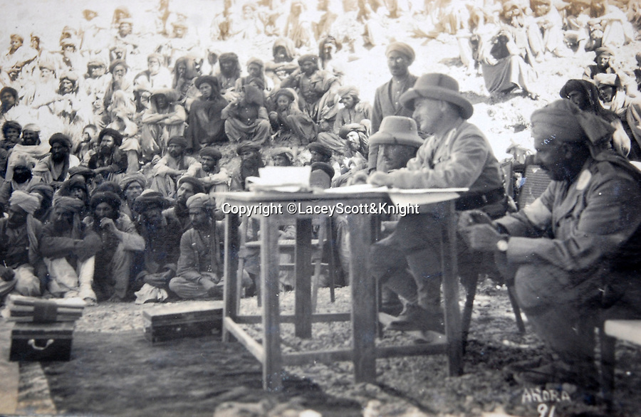 BNPS.co.uk (01202 558833)<br /> Pic: LaceyScott&Knight/BNPS<br /> <br /> The British troops were bolstered by a large number of Indian soldiers.<br /> <br /> From the far reaches of the British Empire - Remarkable previously unseen photos of a forgotten military campaign has come to light 100 years later.<br /> <br /> The little known Waziristan campaign of 1919 and 1920 saw the British and Indian forces engaged in fierce fighting against Afghan tribesman who invaded northern India.<br /> <br /> However, the conflict, which saw the use of the might of the RAF in targeted bombing raids, has become almost lost to history since it took place just after the Great War.<br /> <br /> The battleground was the rugged, remote, mountainous region which is modern day northern Pakistan, on the southern border of Afghanistan.