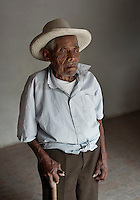 85-year-old rug weaver Secundino Bazan Mendoza (cq) at his home in Teotitlán del Valle, Oaxaca, in Mexico, Sunday, April 8, 2012. Basan uses on the natural color of sheep wool and makes one rug a year...Photo by Matt Nager