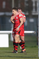 Kieran Hardy of Jersey Reds celebrates scoring his first try of the game to make the score 0-15 during the Greene King IPA Championship match between London Scottish Football Club and Jersey at Richmond Athletic Ground, Richmond, United Kingdom on 18 February 2017. Photo by David Horn / PRiME Media Images.