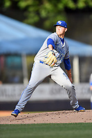 Lexington Legends starting pitcher Bryce Hensley (13) delivers a pitch during a game against the Asheville Tourists at McCormick Field on August 2, 2019 in Asheville, North Carolina. The Tourists defeated the Legends 7-2. (Tony Farlow/Four Seam Images)