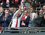 Arsene Wenger manager of Arsenal lifts the FA Cup during the Emirates FA Cup Final match at Wembley Stadium, London. Picture date: May 27th, 2017.Picture credit should read: David Klein/Sportimage
