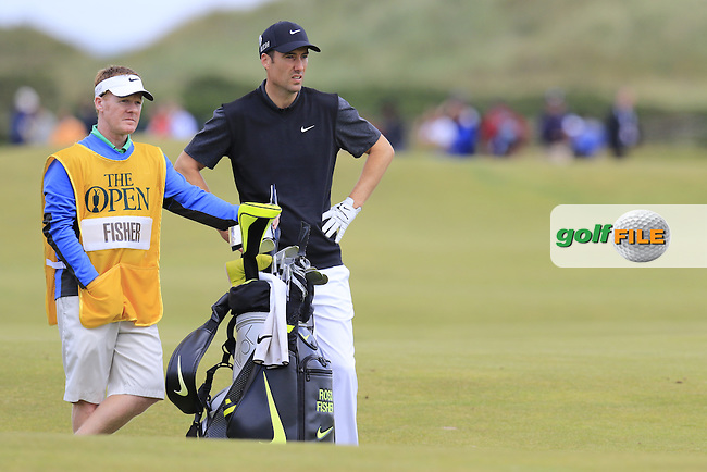 Ross FISHER (ENG) and caddy Mark Sherwood on the 16th hole during Sunday's Round  of the 144th Open Championship, St Andrews Old Course, St Andrews, Fife, Scotland. 19/07/2015.<br /> Picture Eoin Clarke, www.golffile.ie