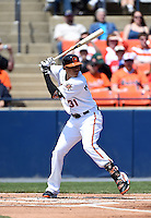 Baltimore Orioles third baseman Manny Machado (31) at bat during a rehab assignment with the Frederick Keys during a game against the Carolina Mudcats on April 26, 2014 at Harry Grove Stadium in Frederick, Maryland.  Carolina defeated Frederick 4-2.  (Mike Janes/Four Seam Images)