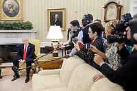 United States President Donald Trump speaks during a meeting with President Pedro Pablo Kuczynski of Peru in the Oval Office of the White House on February 24, 2017 in Washington, DC. Photo Credit: Olivier Douliery/CNP/AdMedia