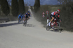 The peloton including Tim Wellens (BEL) Lotto-Soudal And Geraint Thomas (WAL) Team Sky on sector 2 Bagnaia during Strade Bianche 2019 running 184km from Siena to Siena, held over the white gravel roads of Tuscany, Italy. 9th March 2019.<br /> Picture: Eoin Clarke | Cyclefile<br /> <br /> <br /> All photos usage must carry mandatory copyright credit (&copy; Cyclefile | Eoin Clarke)