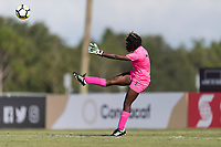 Bradenton, FL - Sunday, June 10, 2018: Madelina Fleuriot during a U-17 Women's Championship match between the United States and Haiti at IMG Academy.  USA defeated Haiti 3-2 to advance to the finals.
