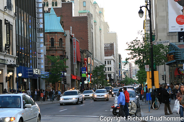 Looking West on Sainte-Catherine street in Montreal, at the corner of McGill College avenue