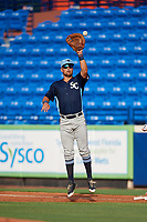 Charlotte Stone Crabs first baseman Nathaniel Lowe (36) jumps to receive a throw during the first game of a doubleheader against the St. Lucie Mets on April 24, 2018 at First Data Field in Port St. Lucie, Florida.  St. Lucie defeated Charlotte 5-3.  (Mike Janes/Four Seam Images)