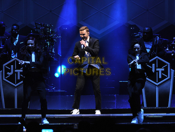 LOS ANGELES, CA - NOVEMBER 24: Justin Timberlake performs onstage on the 20/20 Experience World Tour at The Forum on November 24, 2014 in Los Angeles, California.  <br /> CAP/MPI/FMPG<br /> &copy;FMPG/MediaPunch/Capital Pictures