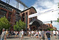 A view of the first base entrance to Coors field in May, 2008.