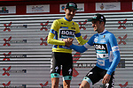 Emanuel Buchmann (GER) Bora-Hansgrohe takes over the race lead and team mate Max Schachmann (GER) the points and young riders jerseys at the end of Stage 5 of the Tour of the Basque Country 2019 running 149.8km from Arrigorriaga to Arrate, Spain. 12th April 2019.<br /> Picture: Colin Flockton | Cyclefile<br /> <br /> <br /> All photos usage must carry mandatory copyright credit (&copy; Cyclefile | Colin Flockton)