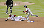 12 October 2012: Washington Nationals outfielder Michael Morse slides out at second in the bottom of the 8th inning of Postseason Playoff Game 5 of the National League Divisional Series against the St. Louis Cardinals at Nationals Park in Washington, DC. The Cardinals stunned the home team with a four-run rally in the 9th inning to defeat the Nationals 9-7 and win the NLDS, moving on to the NL Championship Series. Mandatory Credit: Ed Wolfstein Photo