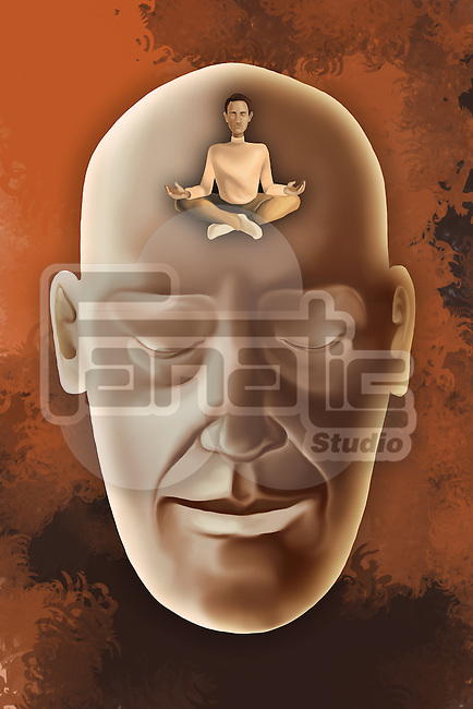 Illustrative image of human face with eyes closed representing meditative mind