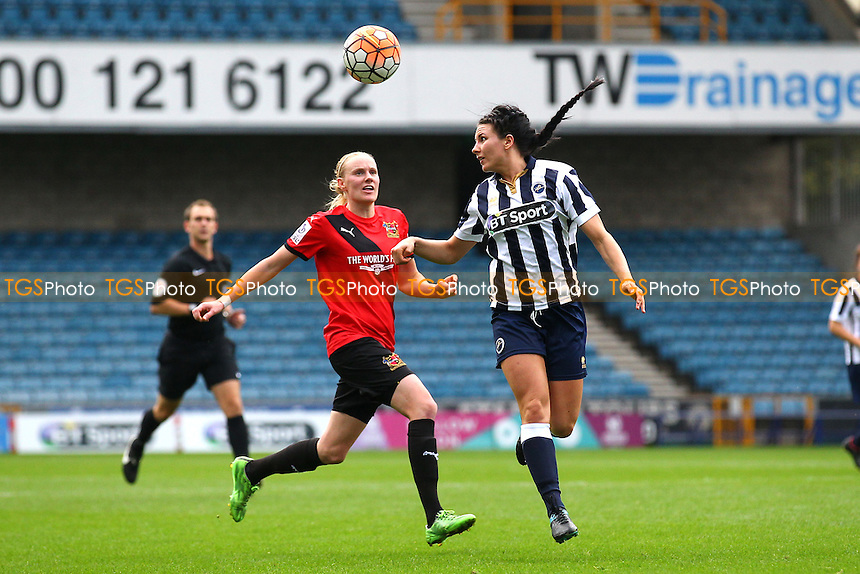 Leighanne Robe of Millwall and Jodie Michalska of Sheffield during Millwall Lionesses vs Sheffield FC Ladies, FA Women's Super League FA WSL2 Football at The Den on 9th October 2016