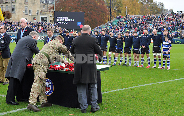 Wreaths are laid in a pre-match ceremony to mark Remembrance Day weekend. LV= Cup match, between Bath Rugby and Exeter Chiefs on November 17, 2013 at the Recreation Ground in Bath, England. Photo by: Patrick Khachfe / Onside Images
