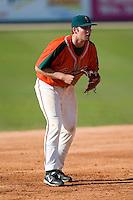 Third baseman Ben Lasater (19) of the Greensboro Grasshoppers in action versus the Kannapolis Intimidators at Fieldcrest Cannon Stadium in Kannapolis, NC, Sunday, April 20, 2008.