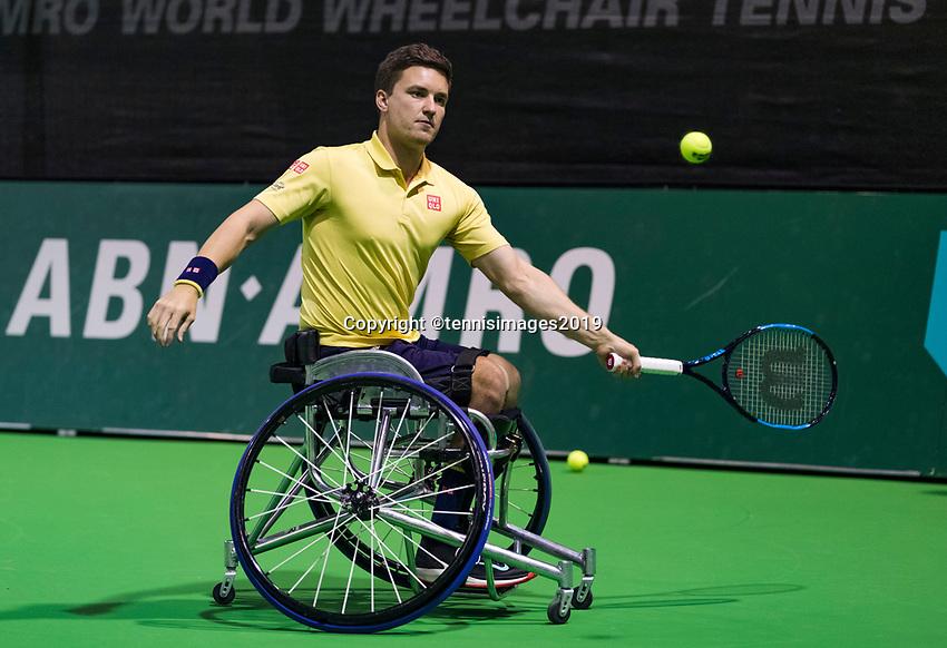 Rotterdam, The Netherlands, 14 Februari 2019, ABNAMRO World Tennis Tournament, Ahoy, Wheelchair, doubles, Gordon Reid (GBR),<br /> Photo: www.tennisimages.com/Henk Koster