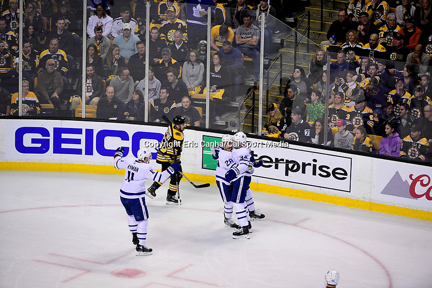 April 21, 2018: Toronto Maple Leafs right wing Connor Brown (28) celebrates his goal with center Auston Matthews (34) during game five of the first round of the National Hockey League's Eastern Conference Stanley Cup playoffs between the Toronto Maple Leafs and the Boston Bruins held at TD Garden, in Boston, Mass. Toronto defeats Boston 4-3, Boston leads Toronto 3 games to 2 in the best of 7 series.