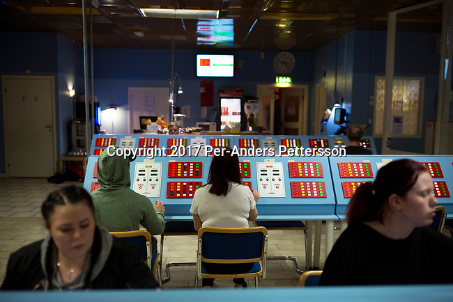 BORAS, SWEDEN - MAY 12: People play Bingo in a hall during a late evening on May 12, 2017 in Boras, Sweden. Nowadays these halls are not common anymore, as the game has moved onto online platforms, and on mobile phones. Bingo has always been popular in Sweden as some of the proceeds benefit the youth and sports organizations. (Photo by Per-Anders Pettersson/Getty Images)