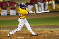 LSU Tigers outfielder Raph Rhymes #4 swings during the NCAA Super Regional baseball game against Stony Brook on June 10, 2012 at Alex Box Stadium in Baton Rouge, Louisiana. Stony Brook defeated LSU 7-2 to advance to the College World Series. (Andrew Woolley/Four Seam Images)