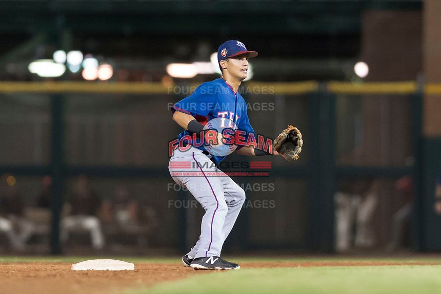 AZL Rangers second baseman Kenen Irizarry (19) waits to receive a throw during an Arizona League game against the AZL Giants Black at Scottsdale Stadium on August 4, 2018 in Scottsdale, Arizona. The AZL Giants Black defeated the AZL Rangers by a score of 6-3 in the second game of a doubleheader. (Zachary Lucy/Four Seam Images)