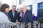 Kirsty and Dick Spring congratulate Jimmy Deenihan at the North Kerry, West Limerick Election 2011 count at the Brandon Hotel Tralee on Saturday.