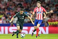 Atletico de Madrid's Saul Niguez (r) and Chelsea FC's Eden Hazard during Champions League 2017/2018, Group C, match 2. September 27,2017. (ALTERPHOTOS/Acero)<br /> Champions League 2017/2018 <br /> Atletico Madrid - Chelsea <br /> Foto Alterphotos / Insidefoto