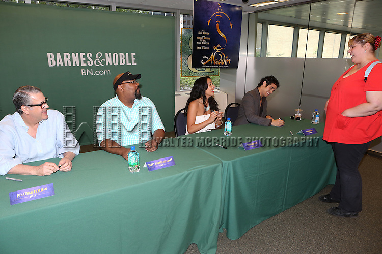 Jonathan Freeman,  James Monroe Iglehart, Courtney Reed and Adam Jacobs attend the 'Aladin' Broadway Cast CD Signing at Barnes & Noble Citigroup Center on June 20, 2014 in New York City.