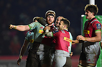 Harlequins players celebrate James Chisholm's match-winning try. European Rugby Champions Cup match, between Harlequins and Wasps on January 13, 2018 at the Twickenham Stoop in London, England. Photo by: Patrick Khachfe / JMP