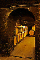 Oak barrels in the cellar of Domaine Gros Frere et Soeur in Vosne-Romanee, Burgundy, Bourgogne, France
