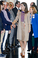 APR 08 Queen Letizia visits the School of Engraving and Graphic Design of the Real Casa de la Moneda
