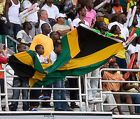 Fans cheer with the Jamaican flag during the group stage of the CONCACAF Men's Under 17 Championship at Catherine Hall Stadium in Montego Bay, Jamaica. Jamaica defeated Guatemala, 1-0.