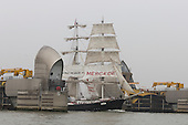 London, UK. 6 September 2014. Pictured: two-masted square-rigged sailing ship<br /> Mercedes at the Thames Barrier, Tall Ships sailing on the River Thames on the second day of the Royal Greenwich Tall Ships Festival 2014.