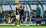 Solna 2014-07-24 Fotboll Europa League AIK - Linfield FC :  <br /> AIK:s Alexander Milosevic har skadat sig och tittas till av AIK:s sjukv&aring;rdare<br /> (Foto: Kenta J&ouml;nsson) Nyckelord:  AIK Gnaget Friends Arena Linfield LFC Europa League Kval skada skadan ont sm&auml;rta injury pain