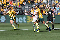 9th November 2019; Bankwest Stadium, Parramatta, New South Wales, Australia; International Womens Friendly Football, Australia versus Chile; Sam Kerr of Australia celebrates her goal to make it 1-0 in the 3rd minute - Editorial Use