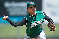 Augusta relief pitcher Juan Trinidad (37) winds up to deliver the ball to the plate versus Kannapolis at Fieldcrest Cannon Stadium in Kannapolis, NC, Wednesday, May 2, 2007.  Trinidad closed out the game for his 4th save on the season.