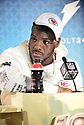 MIAMI, FL - JANUARY 27: Kansas City Chiefs Defensive End Frank Clark (#55) answers questions from the media during the NFL Super Bowl ( LIV)(54) Opening Night at Marlins Park on January 27, 2020  in Miami, Florida. ( Photo by Johnny Louis / jlnphotography.com )