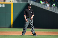 Second base umpire James Rackley during the International League game between the Gwinnett Braves and the Charlotte Knights at BB&T BallPark on July 16, 2017 in Charlotte, North Carolina.  The Knights defeated the Braves 5-4.  (Brian Westerholt/Four Seam Images)